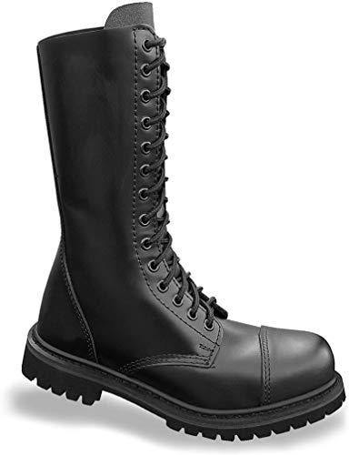 Mil-Tec - Invader 14 Loch Stiefel Boots Schwarz Stahlkappe Leder Schuhe Ranger Größe 39 (GB 5)