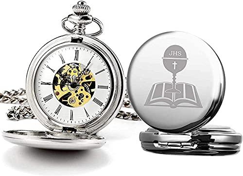 DNGDD Reloj de Bolsillo con Grabado de Bautizo de San Cristóbal de Peltre/Reloj de Bolsillo de Primera comunión para Regalo con Caja de presentación, Relojes de Bolsillo mecánicos con Cadena par
