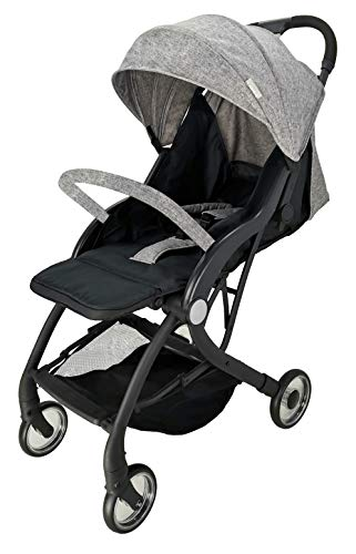 Compact Lightweight New Born Baby Travel Basket Car Seat Stroller Pram Buggy Pushchair One Hand Tri-Fold (Grey Pushchair) just 4 baby Suitable from birth with flat reclining seat 5- point harness, Extendable canopy with visor. All wheel suspension for smooth ride, Removable Hand bar for extra secure 1