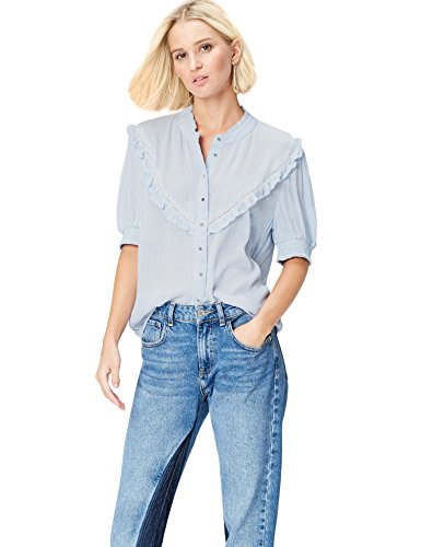 Marca Amazon - find. Camisa Mujer, Azul (Blue Striped), 40, Label: M