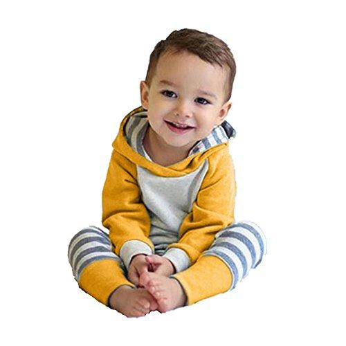 OVERMAL OVERMAL Babybekleidung Mädchen Neugeborene Herbst Winter Baby Mädchen Set Kleidung Pullover Mit Kapuze Sweatshirt +Hosen+Haarband (18 Monate, Gelb)
