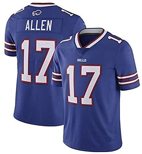 Josh Allen Trikots, Rechnungen Nr. 17 American Football Jersey, gestickte Version, T-Shirt 2021 Tribute Limited Edition Jersey (Color : Blue, Size : XXL)
