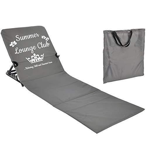 JEMIDI Strandmatte Schwimmbadmatte mit Rückenlehne nur 1,7 kg - Super leicht!!! Schwimmbad Decke Matte Laken Liege Strandliege Grau Summer Lounge
