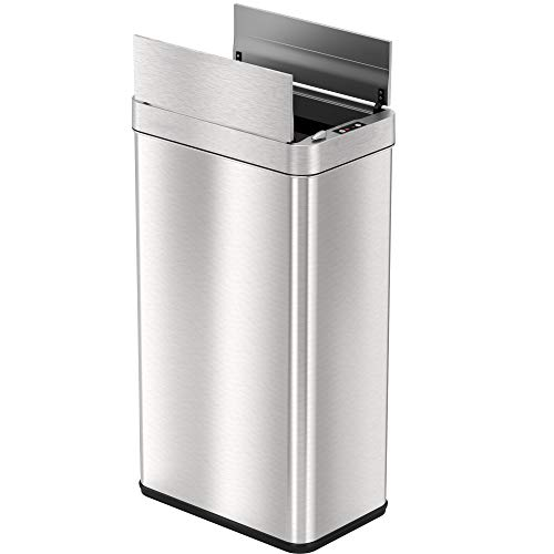 iTouchless 18 Gallon Wings-Open Sensor Trash Can with AbsorbX Odor Filter & Pet-Proof Lid, 68 Liter Stainless Steel Automatic Touchless Kitchen Garbage Bin