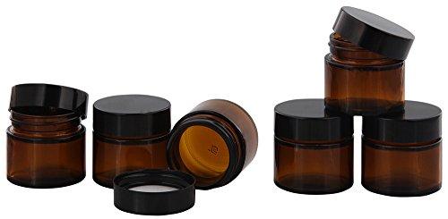 Braunglastiegel m. Kunststoff-Deckel, 30 ml Leerer Tiegel, Kosmetex Glasdose, 6× schwarz