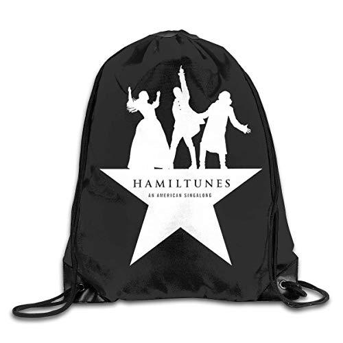 JHUIK Drawstring Bag Backpack,Hamilton The Musical Fashion Sac à Dos Design épaule Sac à Cordon Homme Femme Sacs Taille Unique