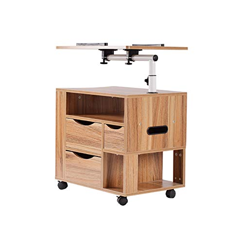 Multifunctional Modern Rolling Wood Nightstands Bedside Computer Table with Drawers, Height Adjustable Bedroom Side Storage Cabinet On Wheels for Home and Office for Laptop Desk