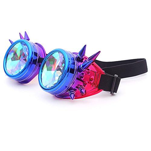 Dorical EDM Sonnenbrille für Unisex/Damen Herren Bunt Brille Rave/Festliche Brille Party gebeugte Linse Vintage Outdoor Brillen/Brille Dekobrillen/Valentinstag Brille für Frauen Männer Sale