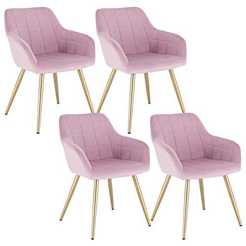 WOLTU 4 x Esszimmerstühle 4er Set Esszimmerstuhl Küchenstuhl Polsterstuhl Design Stuhl mit Armlehne, mit Sitzfläche aus Samt, Gestell aus Metall, Gold Beine, Rosa, BH232rs-4