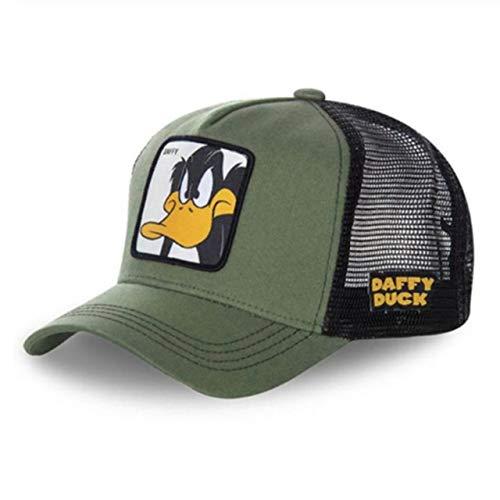 Gorra de bisbol Snapback de Dibujos Animados Hombres Mujeres Hip Hop Dad Mesh Trucker Hat-Duck Green