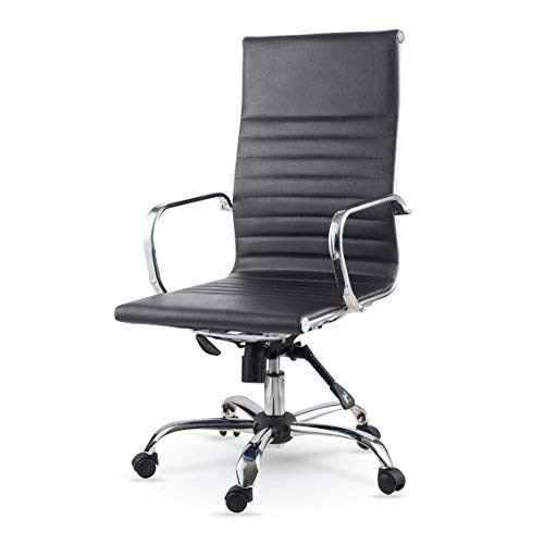 Winport Furniture Elegance High-Back Leather Swivel Office & Home Desk/Task Chair, Black