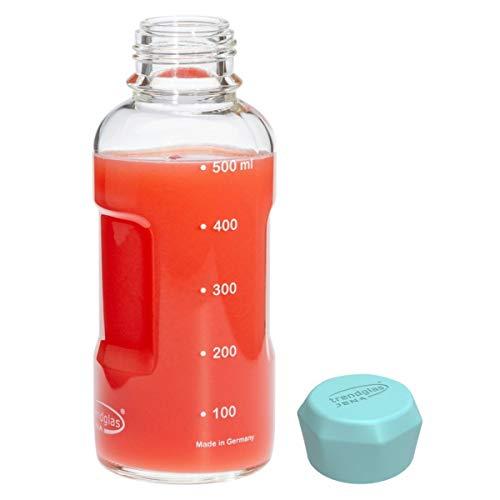 Trendglas Jena - Borraccia in vetro borosilicato con scala graduata, 500 ml, colore: Blu