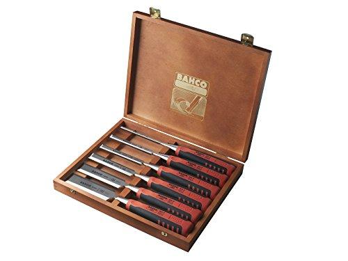 Bahco 424P-S6-EUR BH424P-S6-EUR Stechbeitel-Satz 6/10/12/18/25/32mm 6-teilig in Holzbox, Mehrfarbig, 6/10/12/18/25/32 mm
