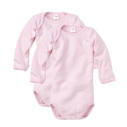 wellyou Baby und Kinder langarmbody/babybody für mädchen aus 100% Baumwolle, langarm body 2er set in rosa weiß, Rosa, 56 - 62