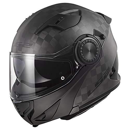 LS2 Helmets Modular Vortex Helmet (Matte Carbon - Large)