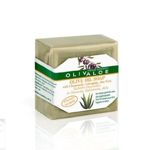 OLIVALOE 00198 – Jabón de aceite de oliva tradicional hecho a mano con camomila, caléndula, aloe vera, aceite de oliva 200 g