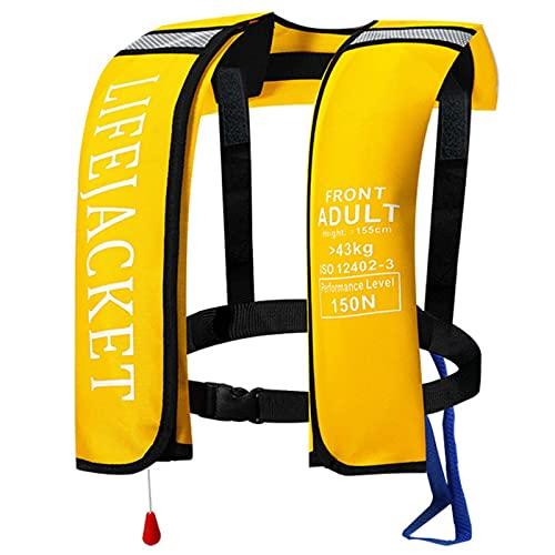 AURALLL Chaleco Salvavidas Chaleco Flotante Natación Chaqueta de Snorkel Chaleco Salvavidas Inflable Adulto para Adultos Supervivencia Flotante (El Cilindro de CO2 no está Incluido)