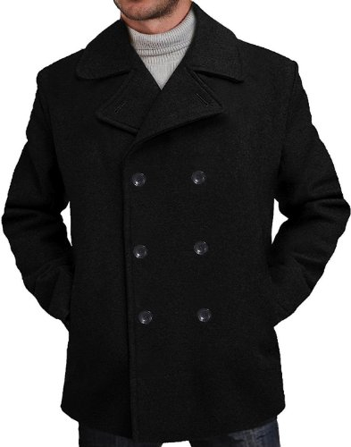 BGSD Men's Mark Classic Wool Blend Pea Coat Black Large Tall
