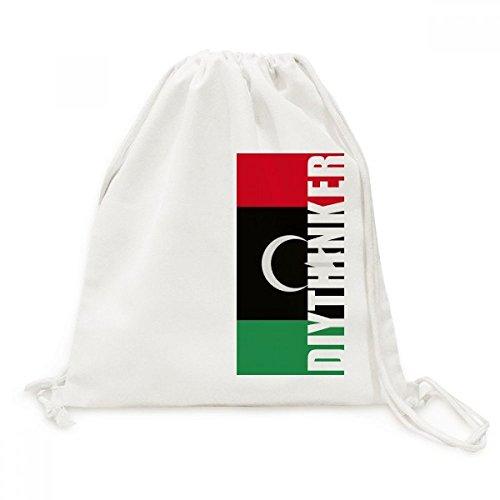 DIYthinker Libië Nationale Vlag Afrika Land Canvas Trekkoord Rugzak Reizen Shopping Tassen