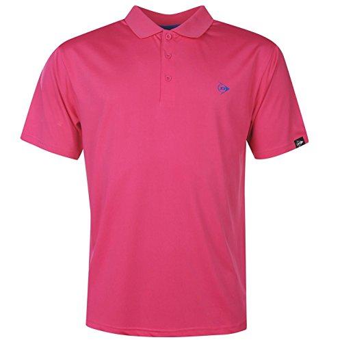 DUNLOP Herren Plain Polo Shirt Kurzarm Tee Top T-Shirt Extra Leicht Sportshirt Rosa Extra LGE