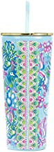 Lilly Pulitzer Blue Double Wall Tumbler with Lid and Reusable Straw, Insulated Travel Cup Holds 24 Ounces, Aqua La Vista