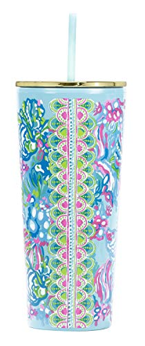 Lilly Pulitzer Blue/Green Double Wall Insulated Tumbler with Reusable Flexible Straw, Holds 24 Ounces, Aqua La Vista