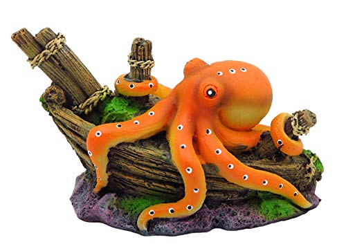 Gumolutin Aquarium Fish Tank Decoration Emulational Octopus Ship Aquarium Decor Ornaments, Mini