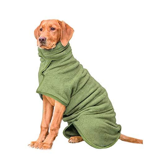 HAPPY HACHI Albornoz para Perros Super Absorbente Microfibra, Toallas Baño para Gatos Secador Pelo Rápido con Cinta Ajustable, Pijamas para Cachorros Mascotas Grandes(S, Verde)