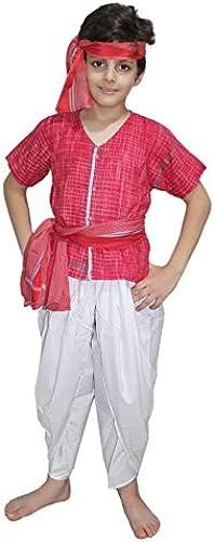 Kaku Fancy Dress Indian Traditional Villager Dance Costume Farmer Fancy Dress Costume for Kids Red for Boys