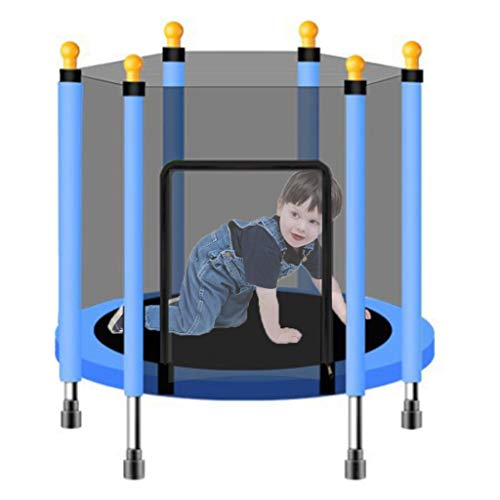 LXXTI Trampolines for Children Outdoor, Trampoline Safety Nets with Enclosure, Trampolines for Children for Family Backyard School Entertainment,Blue,140cm/55inch