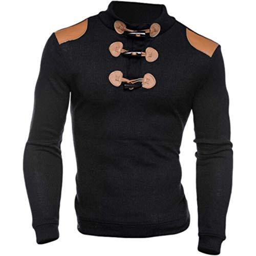 Jersey de Cuello Alto para Hombre con Hebilla de Cuero Decorado Slim Fit Stretch Stretch Otoño e Invierno cálido Jumper Tops