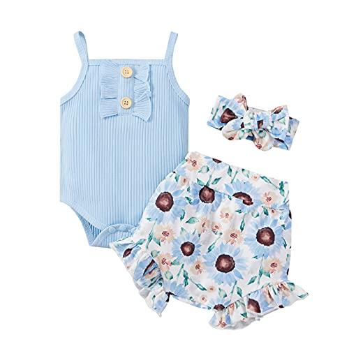 Bebé Niña 2 Piezas Conjunto de Ropa Verano Traje de Pantalones Cortos Top Camiseta Corta de Tirantes con Volantes + Shorts para Casual Fiesta Viaje