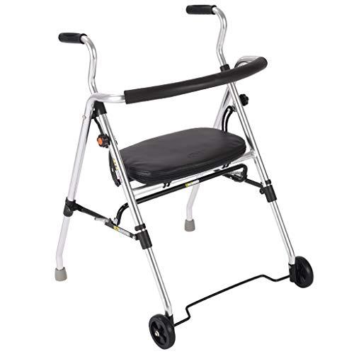 Lattice Andador Andadores con 2 Ruedas, Andar Asistido Plegable con Asiento, AleacióN De Aluminio, Adecuado para Personas Mayores con Discapacidades