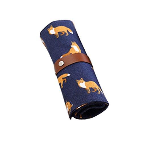 Da.Wa 1 Stück Dual Use Multifunktions Schüler Persönlichkeit Leinwand Roll Bleistift Tasche Blau