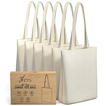JL ECO Blank Heavy Duty Canvas Tote Bags with Inner Pocket and 28  Long Handles  6-Pack