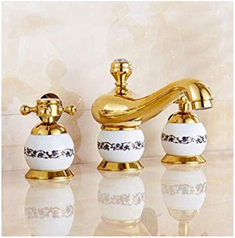 Wasserhahn Moderner Luxus-Wasserhahnmischerarmaturen Kupfer Gold Wasserhahn Badewanne Becken Wasserhahn Porzellan Heien Und Kalten Wasserhahn