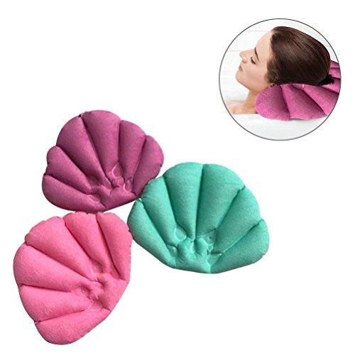 Rosenice Oreiller de bain gonflable avec ventouses pour baignoire (couleur aléatoire)