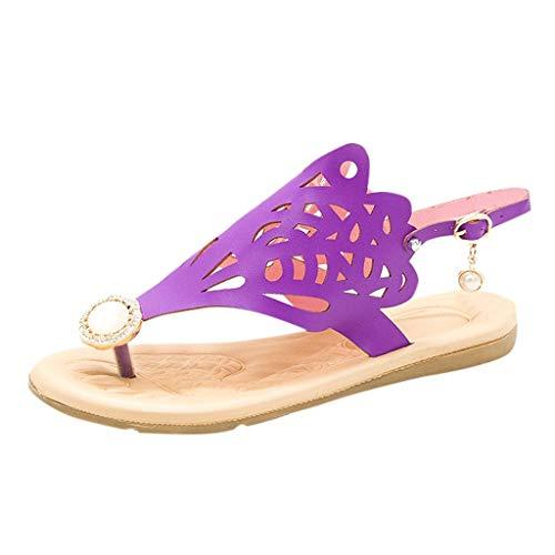 MRULIC Damen Böhmische Schuhe Weibliche Sommer Flache Beiläufige Atmungsaktiv Römische Schuhe Perle Hohlen Strand Sandalen(Violett,38 EU)