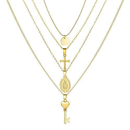 CAISHENY Collar Multicapa de Mujer S Cruz corazón Flor Colgante de Cristal Gargantilla Collar Bohemio Oro Tallado Collar de Cadena Larga