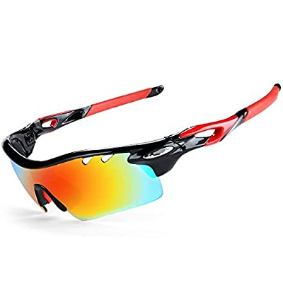 JOGVELO Polarized Sports Sunglasses,Cycling Glasses Men with 5 Interchangeable Lenes, Red