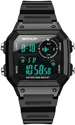 Reloj deportivo digital cronómetro a prueba de verrugas Natación Tratical Relojes Pulseras Temporizador Electrónico Reloj de pulsera de moda - Negro