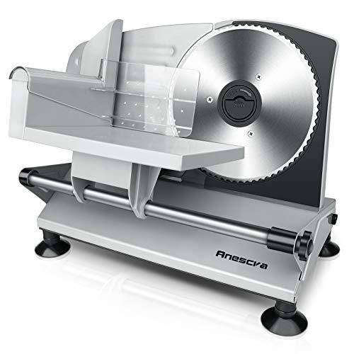 Anescra Allesschneider Elektrisch mit 170mm rostfreies Edelstahlmesser, 0-15mm einstellbare Dicke, abnehmbares Design, Brotschneidemaschine für den Heimgebrauch für Aufschnitt/Käse/Brot/Gemüse, 150W