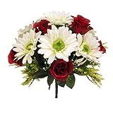 FS Bouquet Artificiel en Soie Rouge et crème, Rose et Gerbera avec Grandes têtes de Fleurs de 3,5 cm – Tombe de Mariage (Rouge et Ivoire) 32 cm