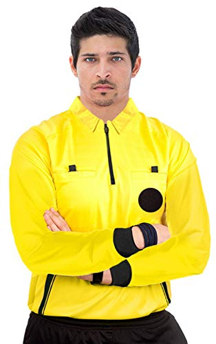 ChinFun Referee Shirts Umpire Long Sleeve Jersey - Pro-Style Ref Uniform Great for Basketball Football Soccer Sports Competitions Yellow M