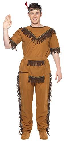 Smiffys Costume inspiré courageux amérindien marron avec haut, pantalon, ceinture et ban