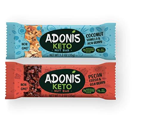 Adonis Keto Riegel   Gemischte Snack Box   100% Natürliche Nuss Snacks, Low Carb, Vegan, Glutenfrei, Low Sugar, Paleo Bars - 5er Box