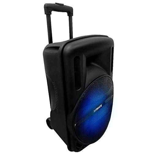 Fisher FBX1244K 12-Inch Portable Wireless Speaker System, DJ, Tailgate, Colorful Lights, Remote Control, Microphone Input, Aux, USB, TF, Bluetooth