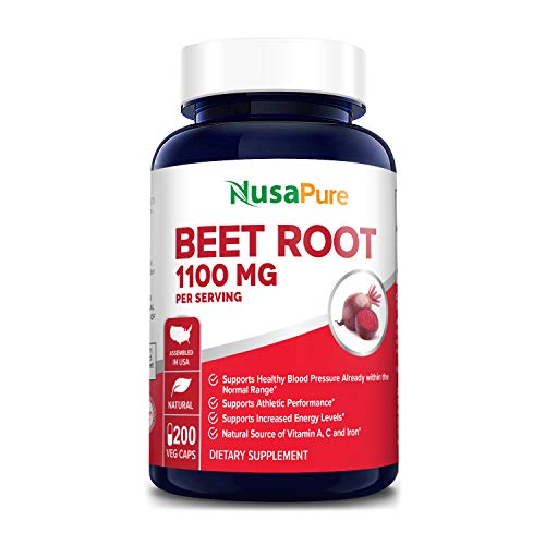 Beet Root 1100 mg 200 Veggie caps (Vegan, Non-GMO & Gluten-Free,Made with Organic Beet Root Powder ) - Supports and Maintains Performance*, Healthy Insulin Response & Healthy Skin Condition*