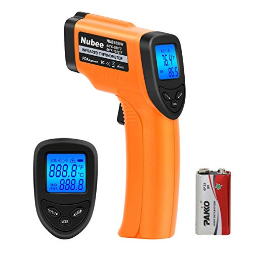 Nubee NUB8550H Digital Infrared Thermometer -58°F~ 1022°F with Adjustable Emissivity & Max Display...