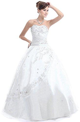 FairOnly M28 Frauen trägerlosen Abendkleid Formal (XS, Weiß)
